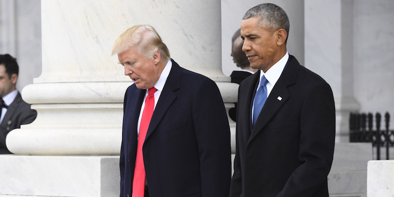 WASINGTON, DC - JANUARY 20: President Donald Trump and former President Barack Obama walk out prior to Obama's departure during the 2017 presidential inauguration at the U.S. Capitol January 20, 2017 in Washington, DC. Donald Trump was sworn in as the 45th President of the United States. (Photo by Jack Gruber-Pool/Getty Images)
